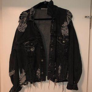 Carmar oversized distressed jean jacket